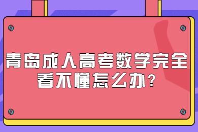 青岛成人高考数学完全看不懂怎么办
